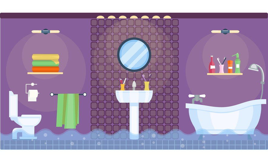 Flooded bathroom interior